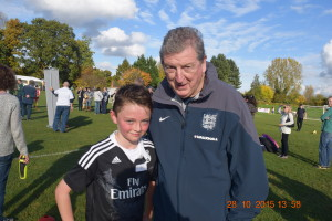 U12 Warriors' striker Marc, with Roy Hodgson