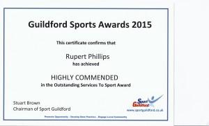 Guildford Sports Award October 2015