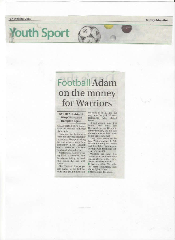 U12 Warriors Surrey Advertiser 06.11.15