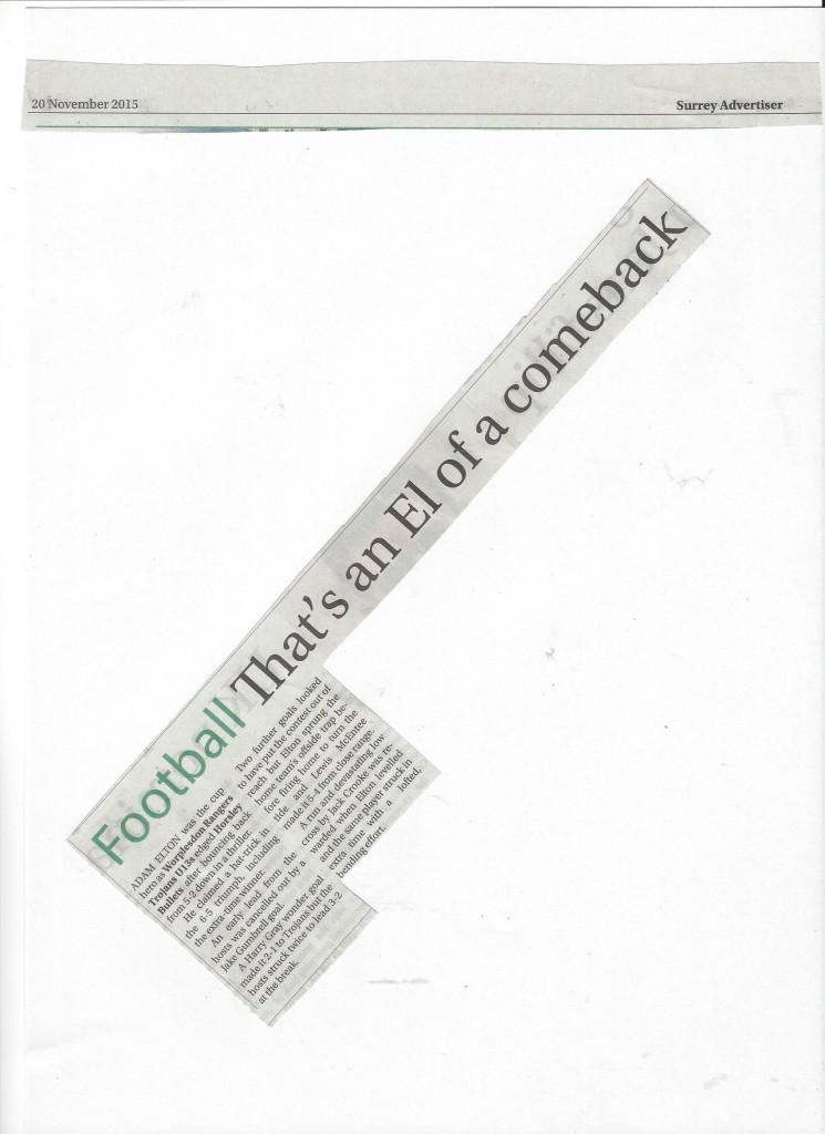 U13 Troajns - Surrey Advertiser 20.11.15