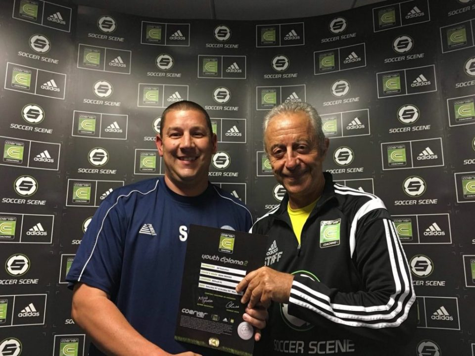 Sean Crooke Receives His Coerver Youth Diploma 2 Award from Coerver Co-Founder Alf Galustian at Millwall FC