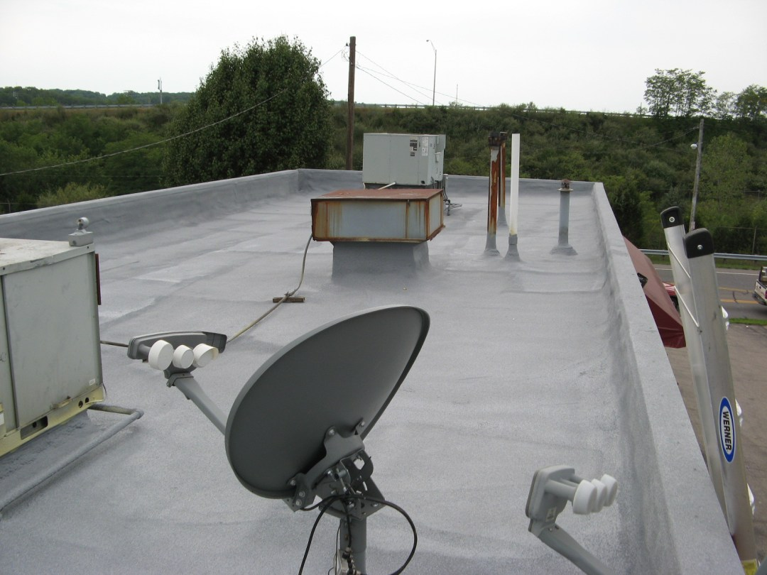 SPF roof with silicone coating and 3M granules.