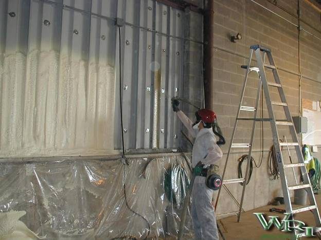 Insulating exterior shop walls for City of Sidney.