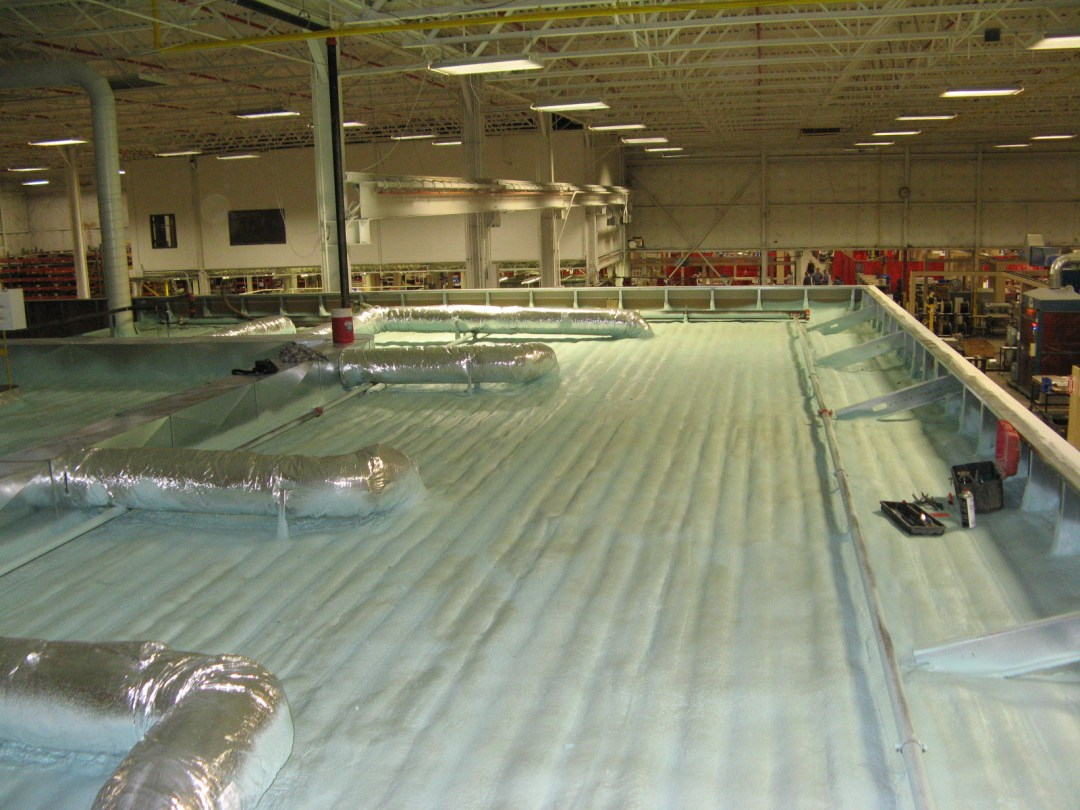 Three inches closed-cell spray foam on top of in-plant test lab.
