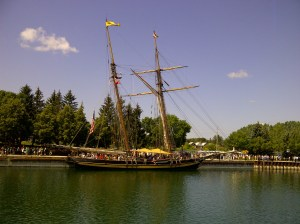 The Pride of Baltimore anchored in Owen Sound