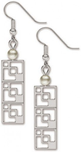 Modernist Brick Screen Earrings with White Faux Pearls