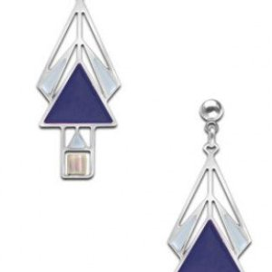 Navy Mahony Window Earrings