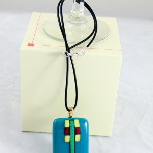 Fused Glass Pendant Necklace Turquoise John Larsen