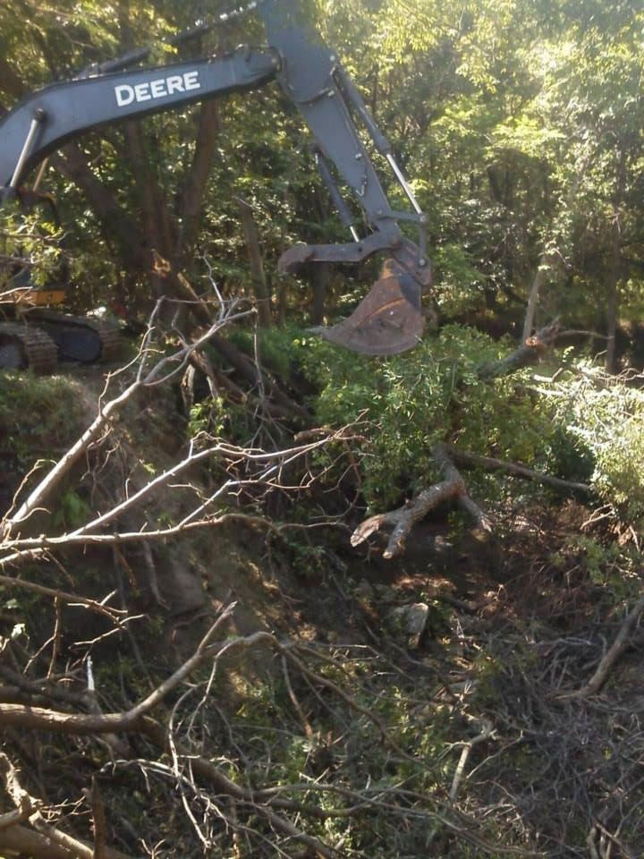 Excavation in Beatrice, Nebraska Wrightsman Trenching removing trees.