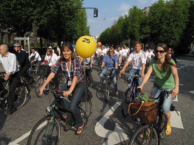 Bicyclists in Copenhagen, Denmark. Photo by Martti Tulenheimo/Flickr