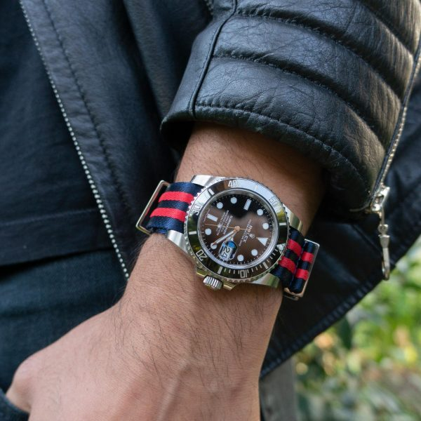 Blue-red-black-316l-stainless-steel-military-wrist-hardware-nylon-watch-strap-red-and-blue-stripes-skipper