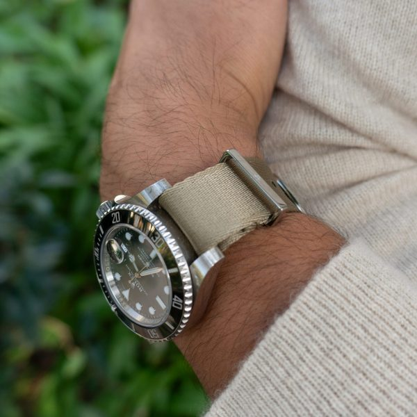 Khaki-watchstrap-cashmere-sweater-wrist-hardware-watch-strap-nylon