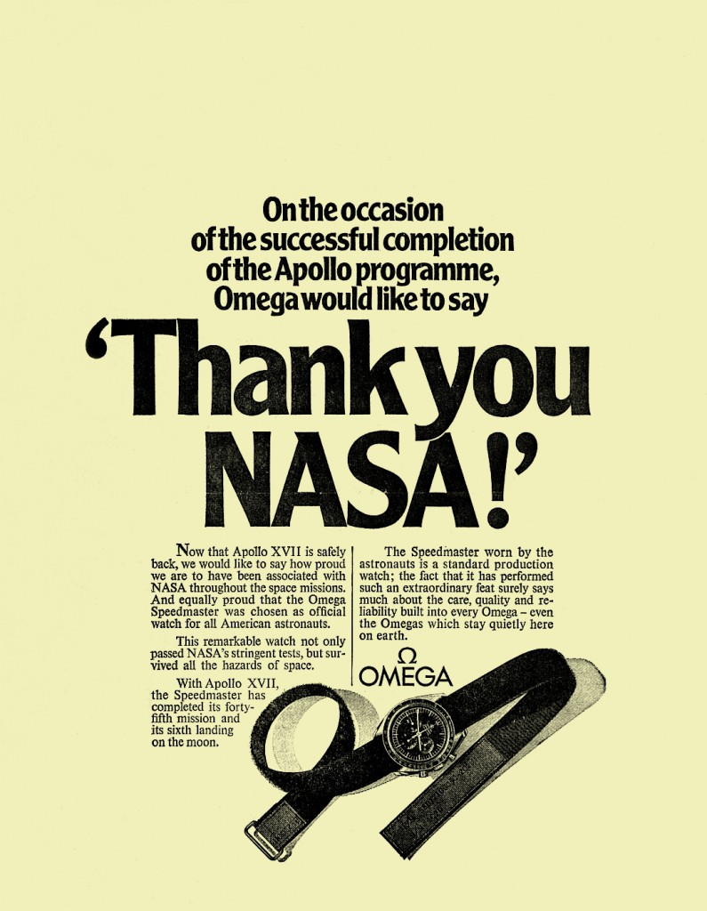 Omega Speedmaster after moon landing advertising