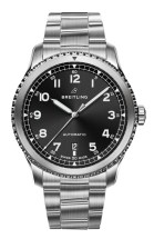 Navitimer 8 Automatic with black dial and stainless steel bracelet. (PPR/Breitling)