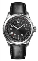 Navitimer 8 Unitime with black dial and black alligator leather strap. (PPR/Breitling)