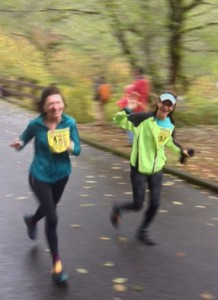Pauline and I running in the Silver Falls Half Marathon last November where she placed third for her age group