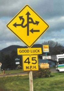 Image, confusing road sign.