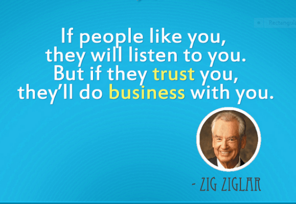 Image, Zig Ziglar quote about honesty in business.
