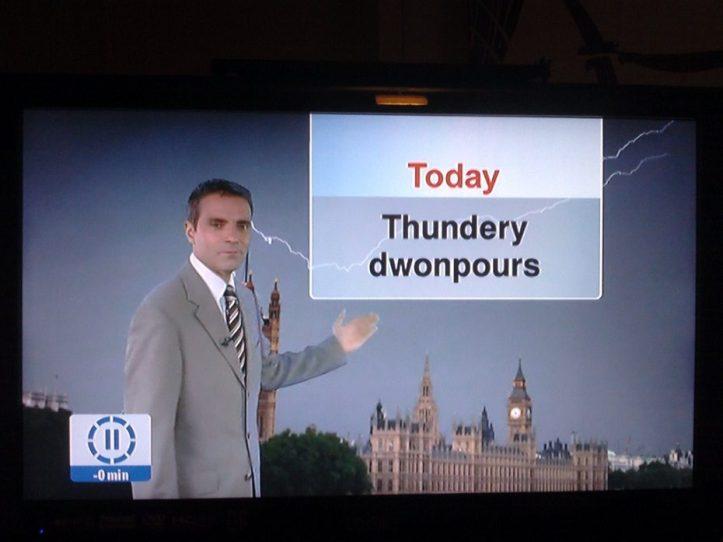 Image, Weather forecast reading 'Thundery dwonpours'.