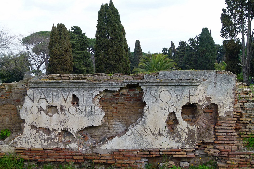 Image, Latin writing on an old roman ruin.