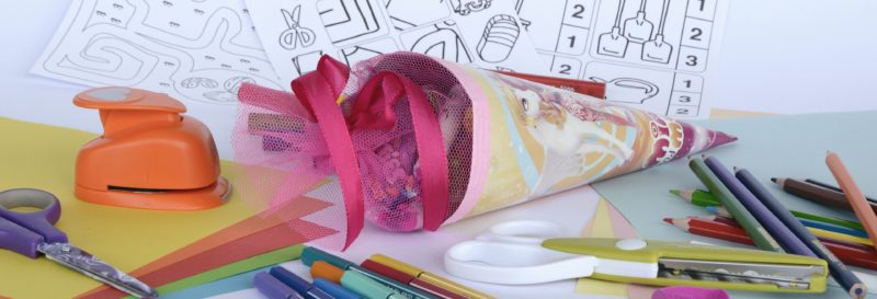 Colourful stationery on a desk