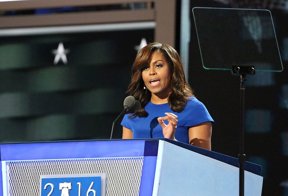 Image, Michelle Obama at the Democratic National Conference 2016.