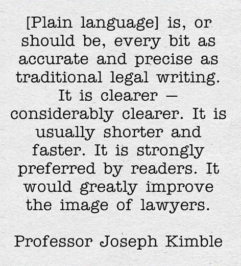 Image, Quote from 'Answering the Critics of Plain Language' by Professor Joseph Kimble.