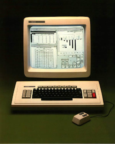 Image, 1980s Xerox Star computer with keyboard, mouse, graphs on small screen.