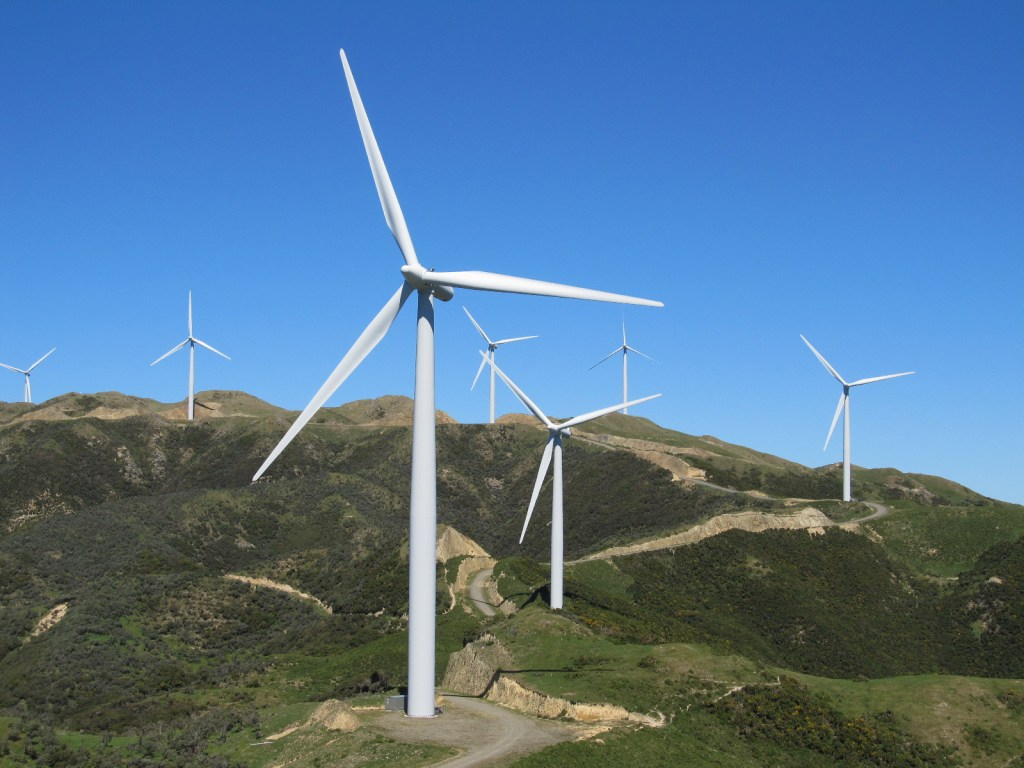 Image, Meridian Energy's West Wind windfarm, showing hills and wind turbines.
