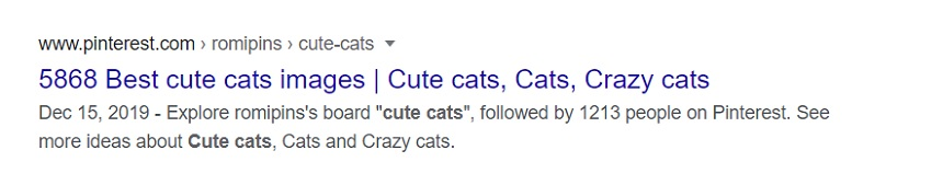 Image, title tag on the front page of a Google search for 'cute cats'