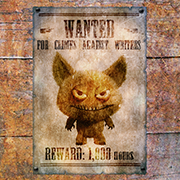 Wanted poster featuring a gremlin