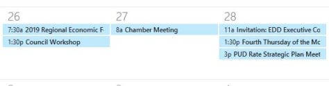 Image from outlook calendar showing volunteer schedule.