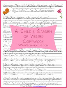 Copywork From A Child S Garden Of Verses