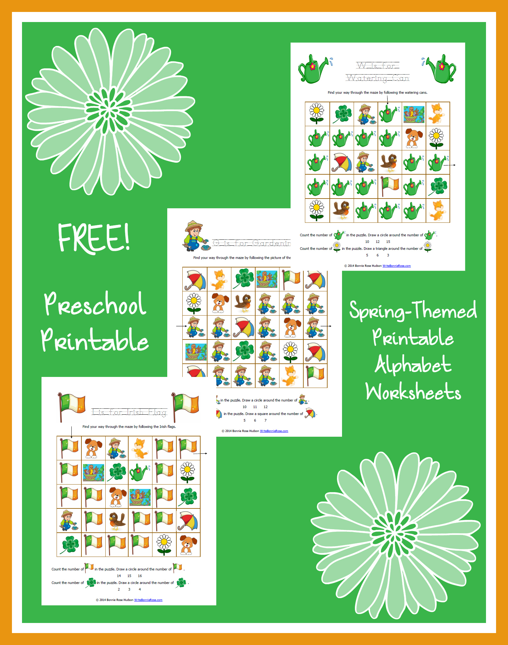 Free Spring Themed Printable Alphabet Worksheets For Preschool