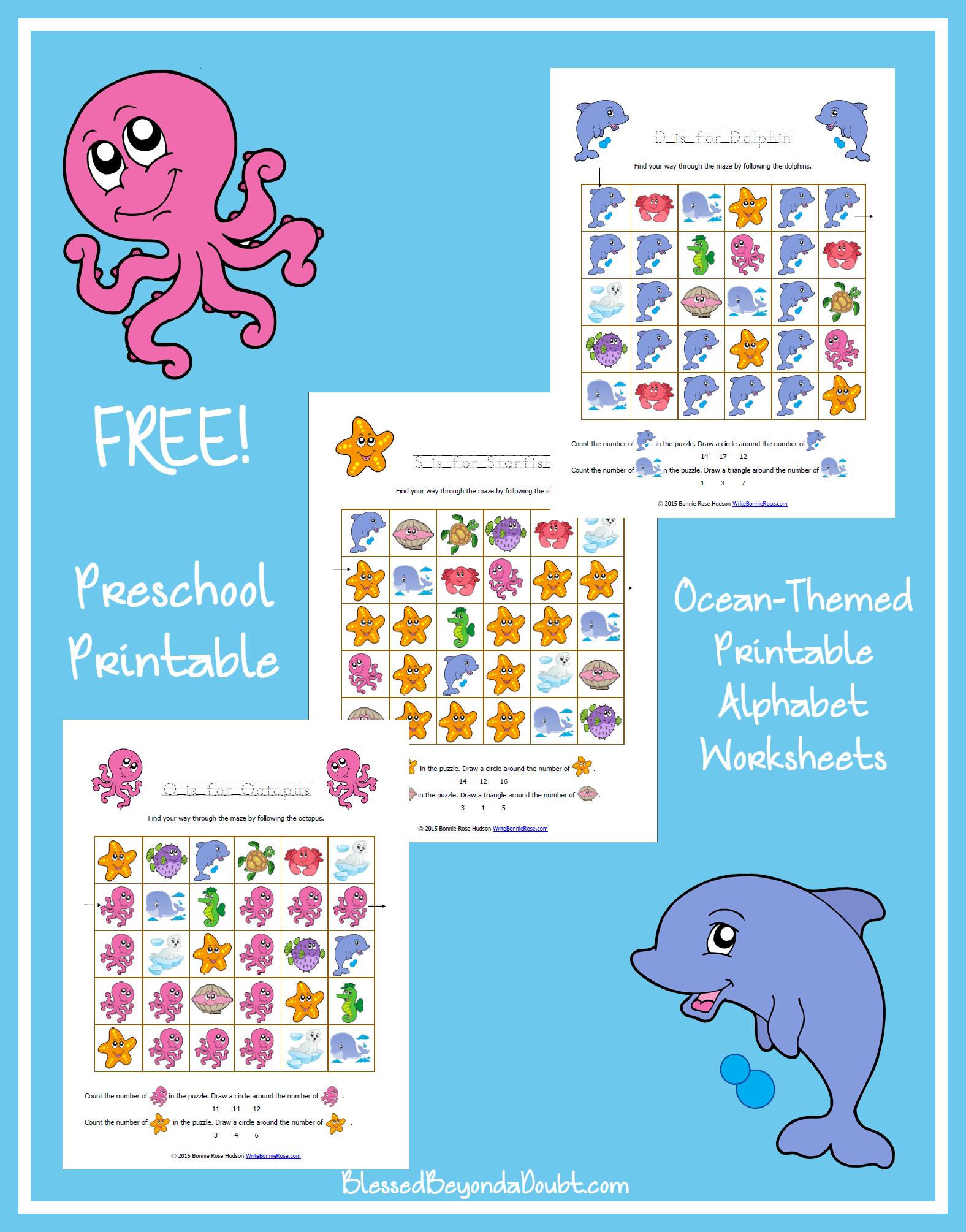 Free Ocean Themed Printable Alphabet Worksheets For Preschool