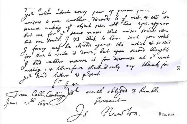 Sir Issac Newton's handwriting