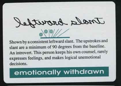 Left slanted handwriting