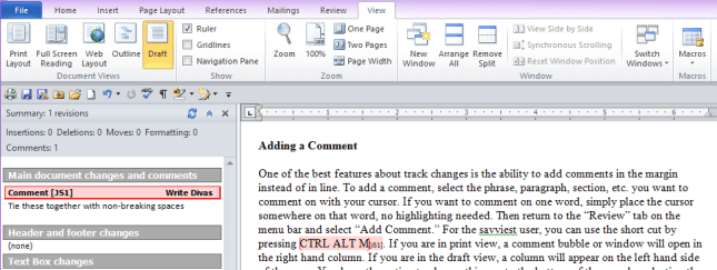 Pic 4 - TC Comments in draft view