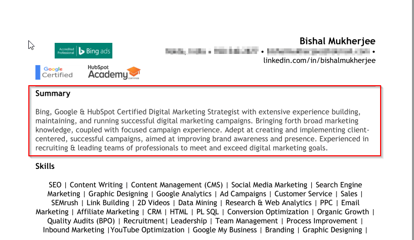 resume for remote jobs - personal value proposition