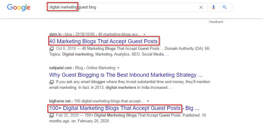 guest post Google search screenshot | growing a freelance business