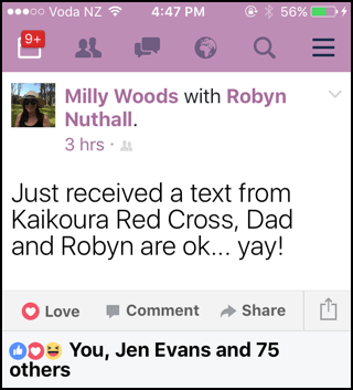 Text: Dad and Robyn are ok...yay! Kaikoura earthquake news