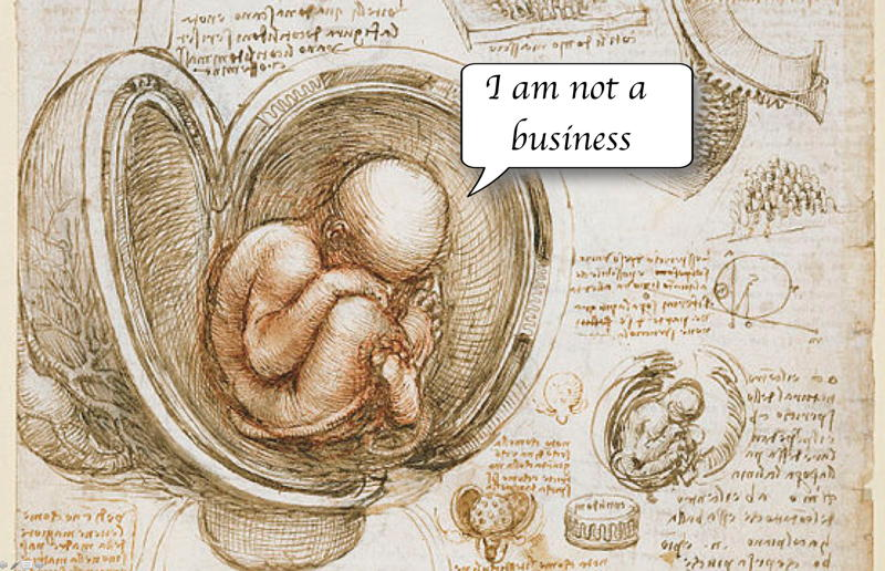Da Vinci's study of the foetus plus words: I am not a business