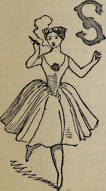 Vintage drawing of a young woman smoking