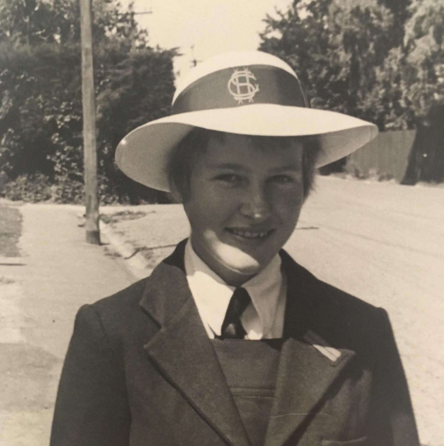 B&W photo of 11-year-old Rachel in Christchurch Girls High School uniform