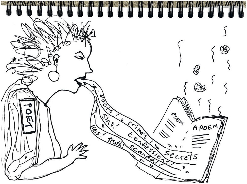 Cartoon of poet vomiting her crimes, sins and secrets into a poem