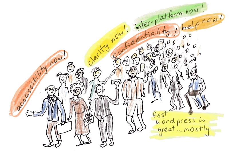 Cartoon of a crowd of older bloggers calling for accessibility, clarity, privacy, and help