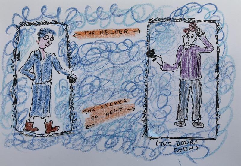 Cartoon: the helper and the seeker of help