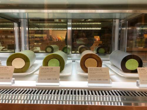 Four coloured roll cakes in a specialty tea shop in Seoul