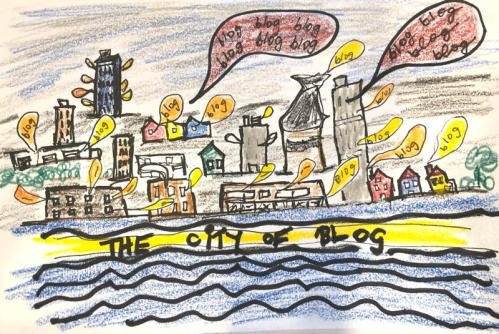 Drawing of a city with blog bubbles ballooning from every window