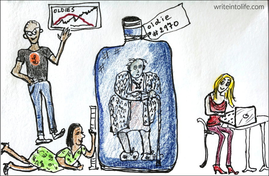 cartoon of old woman in a bottle labelled Oldie #2970 being studied by three young scientists